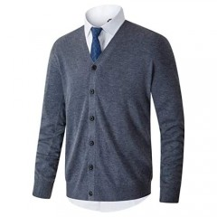 Homovater Mens Casual Slim Fit V-Neck Cardigan Sweaters Long Sleeve Solid Colors Button Down Knitwear with Ribbing Edge