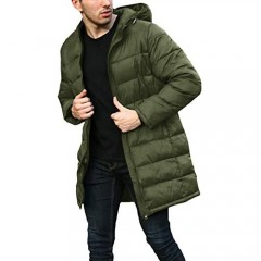 Gafeng Mens Long Down Coat Puffy Thickened Winter Warm Active Windproof Hooded Padded Down Jacket