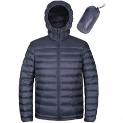 HARD LAND Men's Water Resistant Packable Down Jacket Hooded Lightweight Insulated Winter Puffer Coat Outerwear