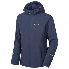 Little Donkey Andy Men's Softshell Jacket Ski Jacket with Removable Hood  Fleece Lined and Water Repellent