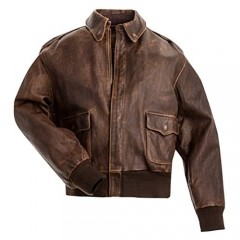 Men's A2 Jacket Flight Pilot Aviator USAAF Air Force Distressed Brown Bomber Leather Outerwear