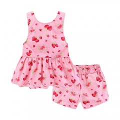Mud Kingdom Strawberry Girls Outfits Summer Holiday Cute Backless