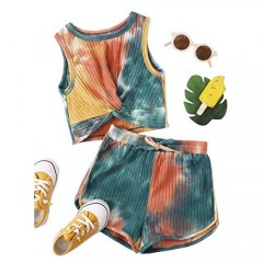Romwe Girl's 2 Piece Shorts Set Tie Dye Twist Front Tank Tops and Shorts Outfit