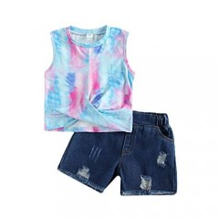 Sprifallbaby Little Girl Summer Clothes Denim Tie Dye Outfit Sleeveless Tops+Ripped Jeans Shorts
