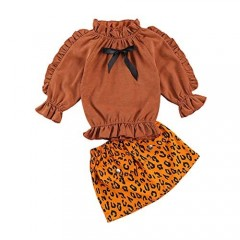 1-6Y Baby Kids Girls Fall Stand-Up Collar Ruffle Long Sleeve Bowknot Tie Elastic Tops Leopard/Corduroy Skirt Set