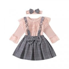Toddler Baby Girls Clothes Lace Ruffle Long Sleeve T-Shirts Tops with Plaid Suspender Skirt Headband Kids Overall Outfit Set