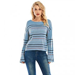 ISOMEI Womens Oversized Sweater Striped Long Bell Sleeve Crew Neck Pullover Knitted Crop Tops
