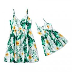 IFFEI Mommy and Me Dress Strappy Summer Matching Dress Green Leaves Floral Printed for Mother and Daughter