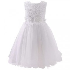 AbaoSisters Flower Girl Dress Lace Crochet Bow Sash Party Wear 6-13 Year Old