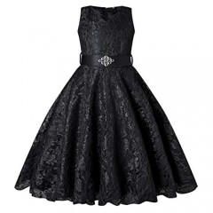 BEAUTY CHARM Girls Tulle Lace Glitter Vintage Pageant Prom Dresses with Belt
