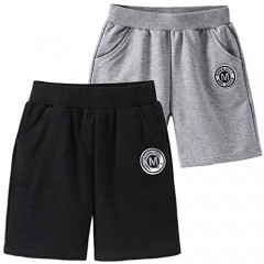 UWBACK Toddler Boy Shorts 2-Pack Sports Solid Casual Knit Joggers for Boys