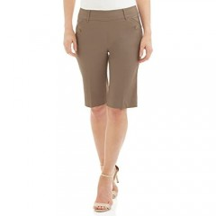 Rekucci Women's Ease Into Comfort Modern Pull-On Bermuda Short with Pockets