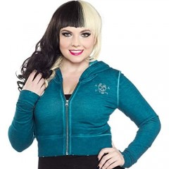 Sourpuss Teal Blue Curio Skull Cropped Hoodie from Clothing