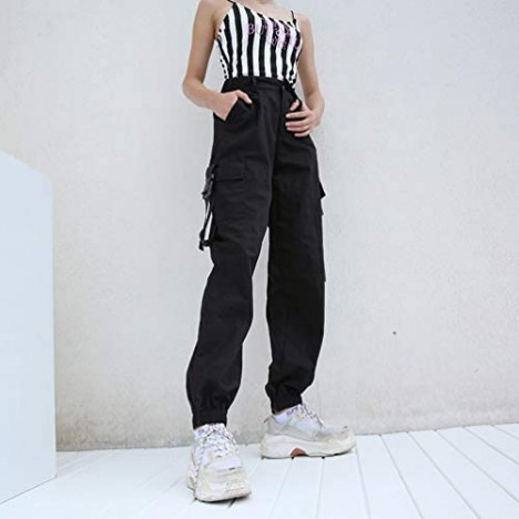 AOWEER Womens High Waisted Cargo Pants Pockets Casual Loose Combat Twill Trousers Girls