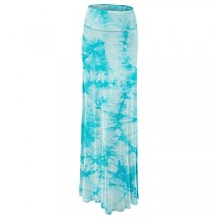 MBJ Womens Tie Dye Fold Over Maxi Skirt - Made in USA